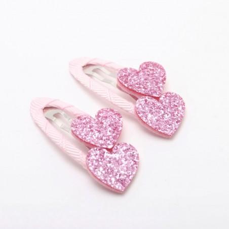 barrettes coeurs paillettes rose