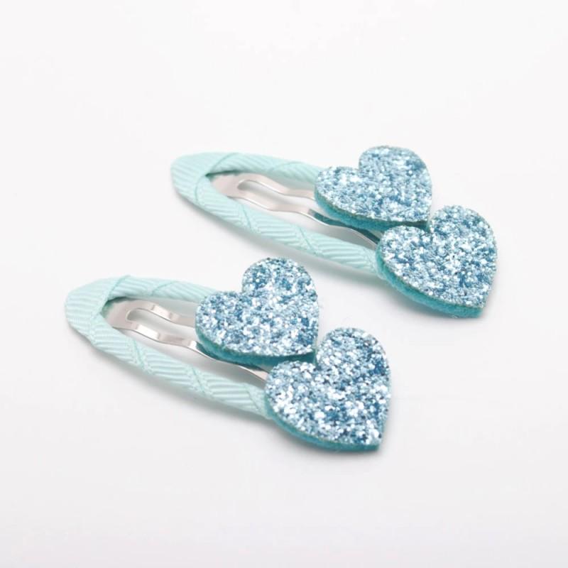 barrettes coeurs paillettes bleu ciel