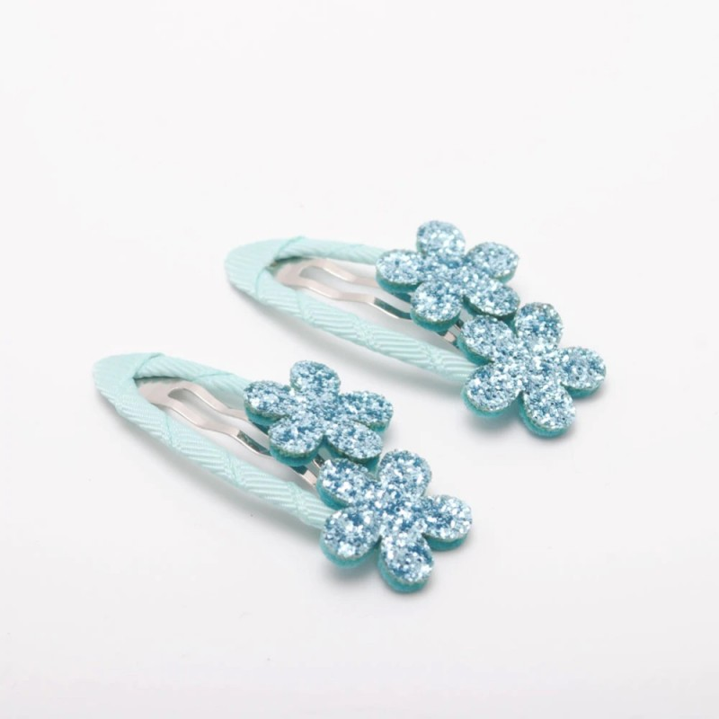 barrettes fleurs paillettes bleu ciel