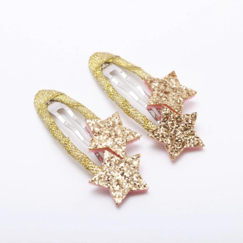 barrettes étoiles paillettes doré