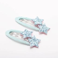 hellblau Glitzer Sterne Haarspangen