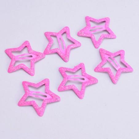 rosa glitter Sterne Haarspangen