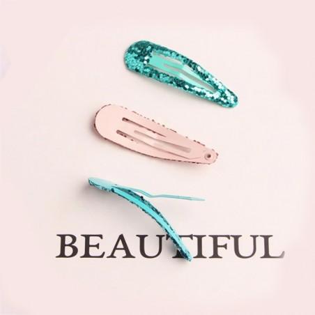 barrettes cheveux glitter 3D rose clair