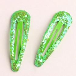 barrettes cheveux glitter 3D vert