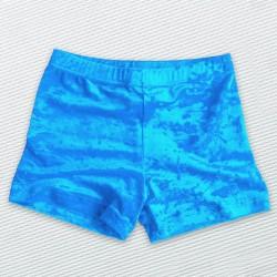 short velours froissé turquoise