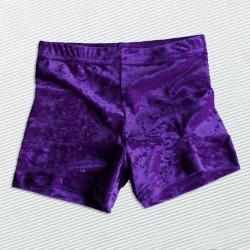 short velours froissé violet